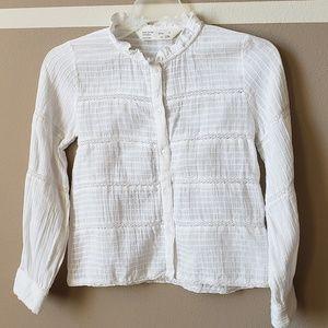 Zara girls cotton white top